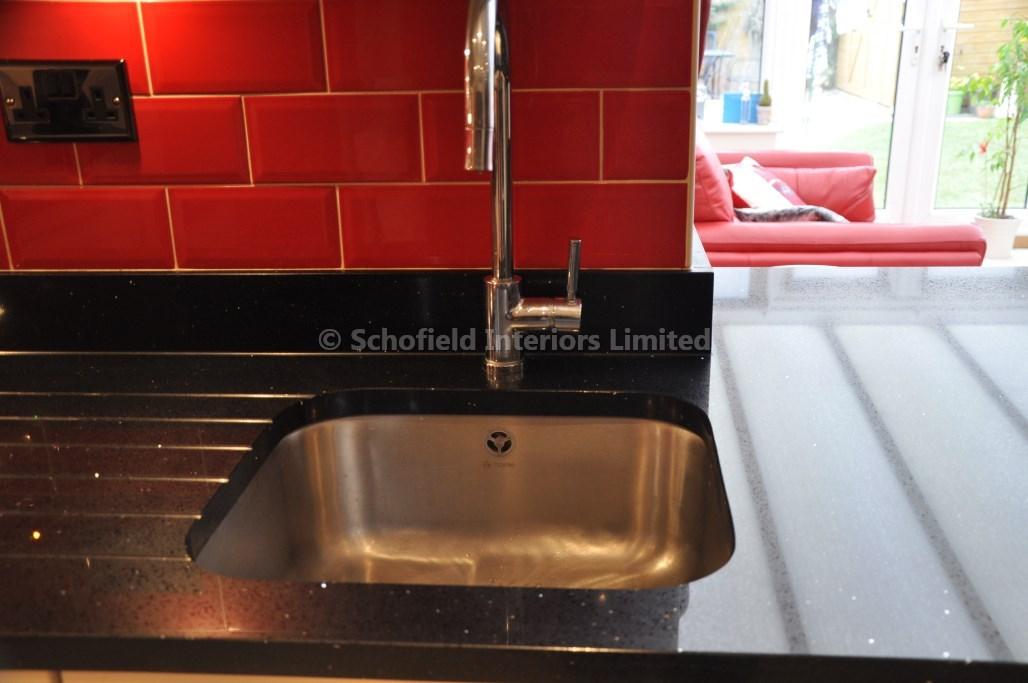 Odyssey Cream Acrylic Kitchen With Black Sparkle Quartz Schofield Interiors Limited