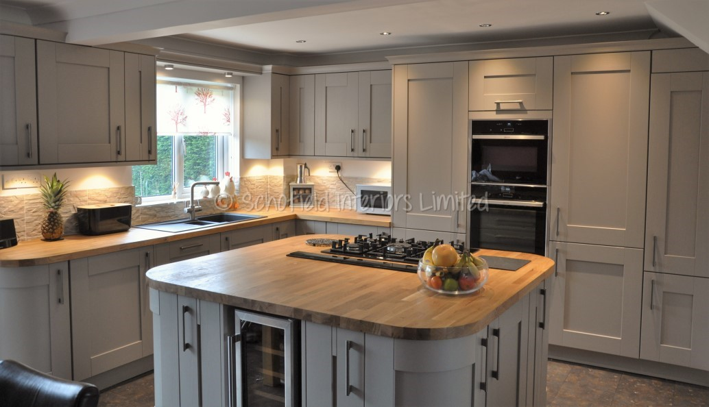 Buckingham Stone Grey Ash Kitchen With Solid Oak