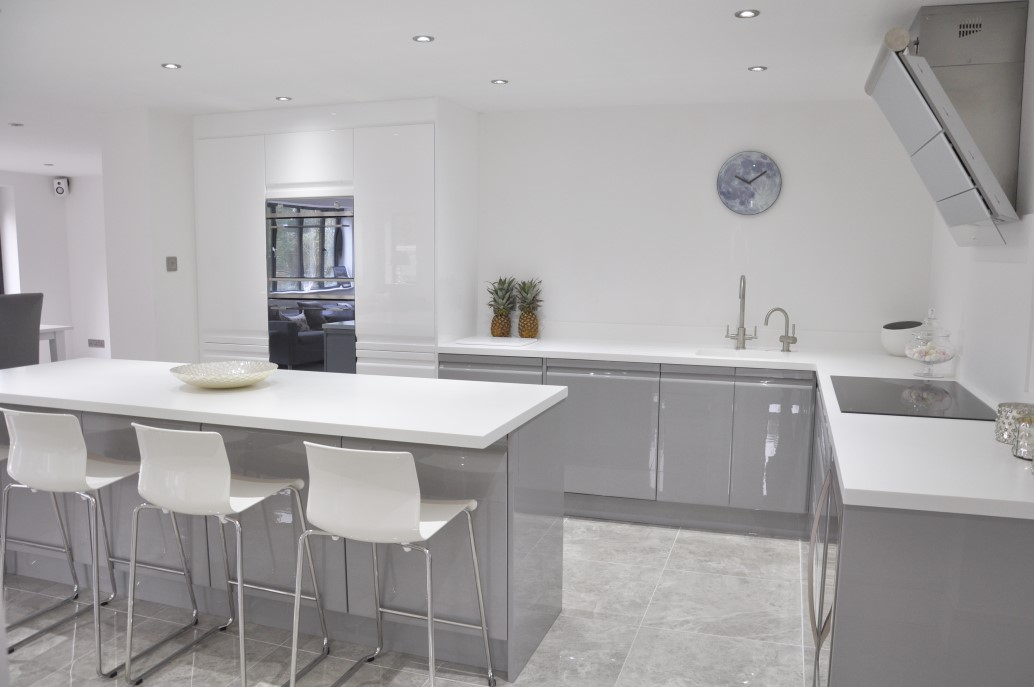 White Gloss Handleless Kitchen Grey Worktops