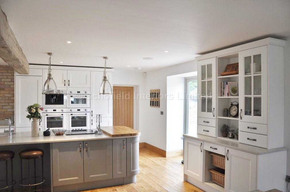 Painted WhiteGrey Vermuyden Kitchen With Carerra Quartz Worktops - Grey kitchen white worktop