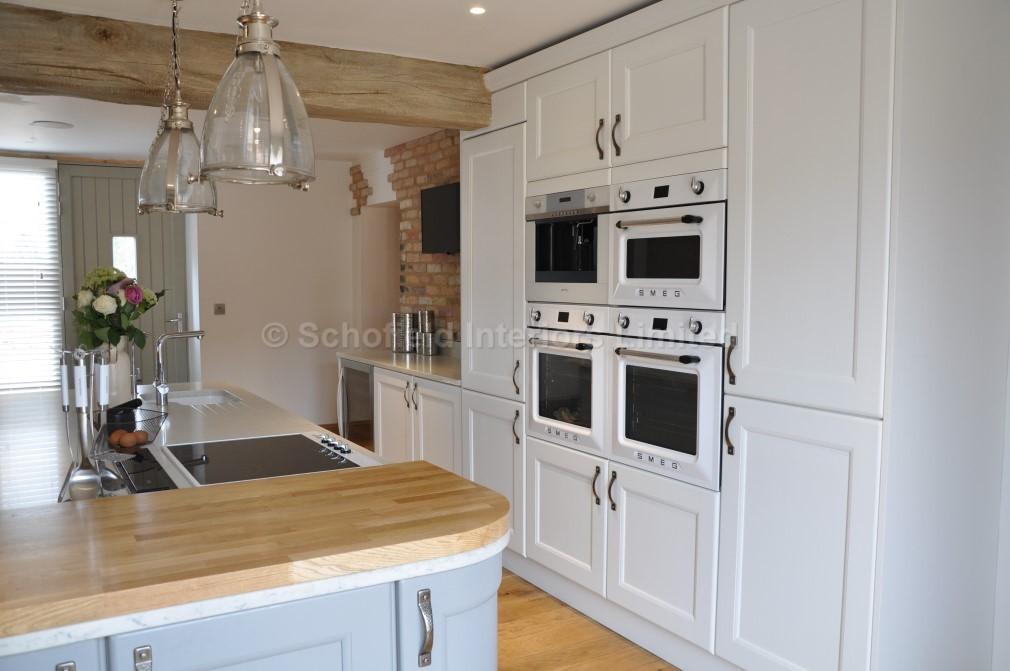 Painted White Grey Vermuyden Kitchen With Carerra Quartz