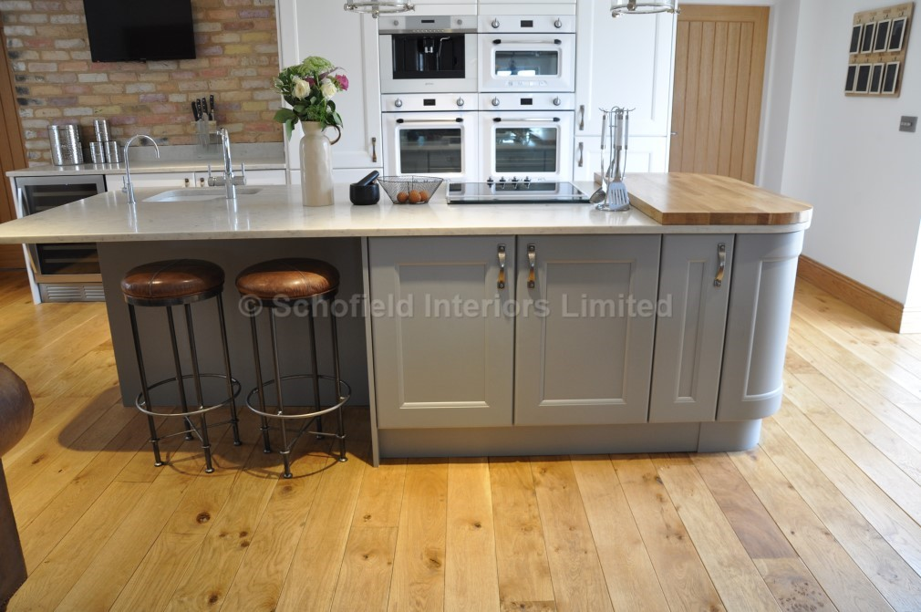 Painted White Grey Vermuyden Kitchen With Carerra Quartz