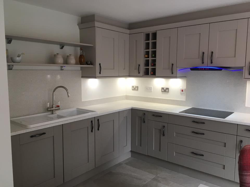 fbd481f78c4 Clients Buckingham Cashmere and Stone Grey Shaker Kitchen with White  Starlight Quartz Worktops